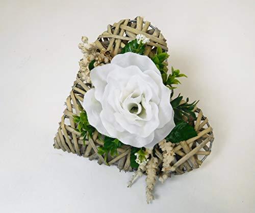 Ziegler Rattanherz künstlich Rosengesteck Rosenherz Tischgesteck Grabgesteck Herz 1 Rose weiß