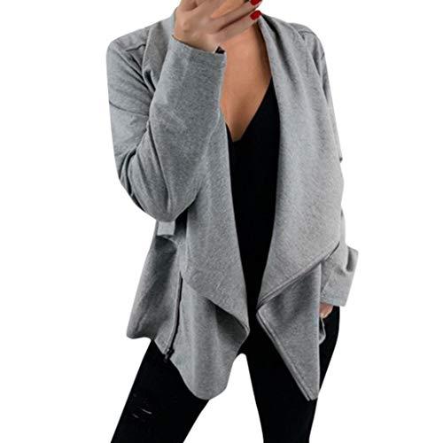 Xiangdanful Damen Pullover Beiläufig Blazer Unregelmäßiger Hoodies Kapuzenpullover Reißverschluss Langarm Sweatshirts Oberteil Outerwear Jacke Bikerjacke V-Ausschnitt Pulli Mantel (L, Grau)