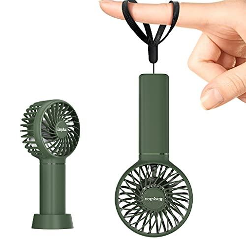 Ventilador de Bolsillo EasyAcc Mini Ventilador de Mano Ventilador portátil 3350mAh 5.5-17H Ventilador Personal de 3 velocidades con Base Desmontable y cordón para niños Mayores para Exteriores-Verde