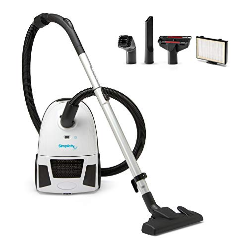 Canister Vacuum Cleaner, Simplicity Jill Compact Vacuum for Hardwood Floors and Rugs, Dual Certified Hepa Filtration, Bagged