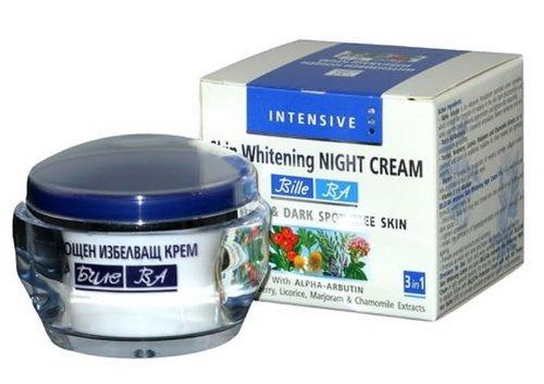Intensive Whitening Night Cream to Fade Freckles & Dark Spots - With Liquorice, Bearberry, Alpha-Arbutin & Chamomile - No Animal Testing - 50ml
