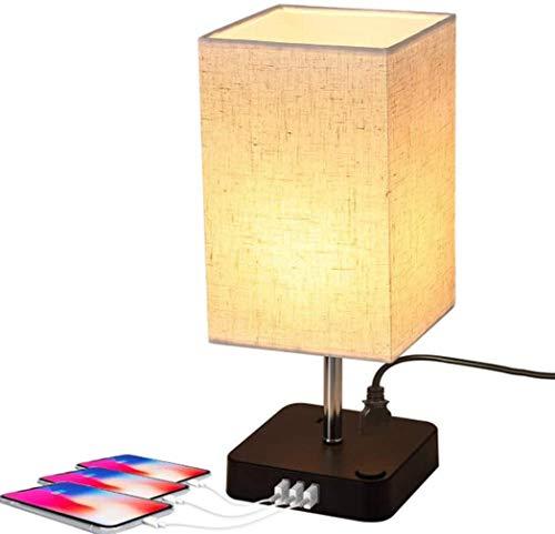 yanzz Lámpara de Escritorio Moderna con Doble Puerto de Carga rápida USB 3 2 enchufes Adecuado para Estudio, Dormitorio, Sala de Estar y Oficina