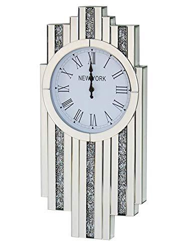 Sassy Home Reloj de Pared de Diamante con Espejo de Cristal Art Deco, un Color, 143 x 30 x 21 cm