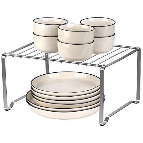Toplife Kitchen Cabinet Shelf, Stainless Steel Kitchen Organizer Rack for Cabinet, Countertop, Pantry - Rustproof, Silver