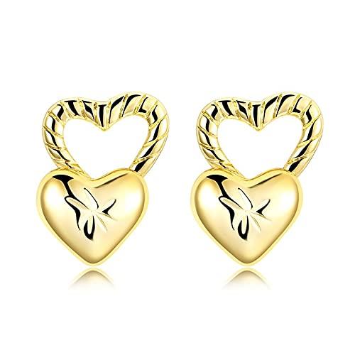 kkkl 1 par de Pendientes románticos en Forma de corazón de Amor exquisitos Pendientes de Fiesta Regalos AKE190 Accesorios de Compromiso con Empuje hacia atrás Finos