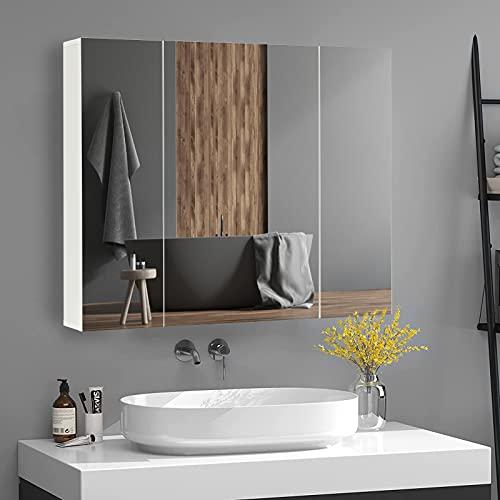 DICTAC Armario Baño Espejo, 3-Puerta, con Baldas Regulables, Mueble Moderno con Espejo...
