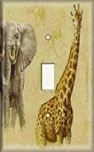 Decorative Light Switch Plate Cover - Giraffe And Elephant In Headlight