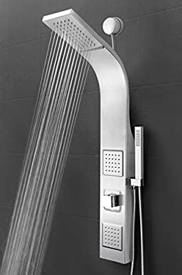 "AKDY 39"" Stainless Steel Wall Mount Easy Connection Rainfall Waterfall Overhead Multi-Function Shower Tower Panel Massage Spray"