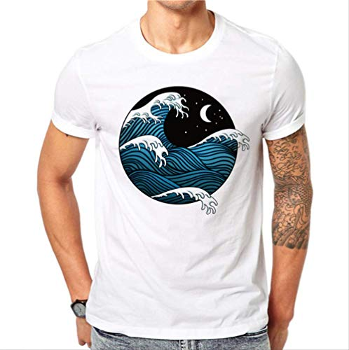 Camiseta para Hombre,Algodón Estilo Japonés Camiseta Verano Hombres Dibujos Animados De Manga Corta Mar Olas Camisa Estampada 3D Slim Fit Camisetas para Hombre XXL