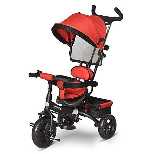 HOMCOM Triciclo para Bebé 4 en 1 Bicicleta para +18 Meses con Capota Manija de Empuje Ajustable Barra Extraíble Reposapiés Plegable Canasta de Almacenaje 92x51x110 cm Rojo
