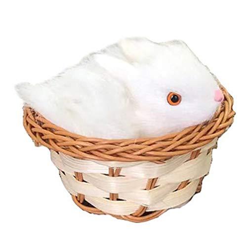 Gadpiparty Mini Hase Kaninchen Figur Osterhase im Korb Plüschhase Modell Plüschtier Kuscheltier Mini Stofftier Kuschelhasen 10x10x7 cm