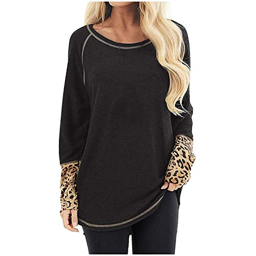 iYBWZH Women's Casual Long Sleeve T Shirt Waistband Blouse Loose Leopard Print Shirt Black