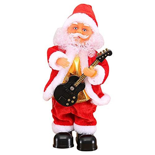 Fanville schattige kerstman dansen zingen muziek speelgoed pluche kerst poppen elektrische speelgoed saxofoon gitaar muziekinstrument beste voor kinderen geschenken