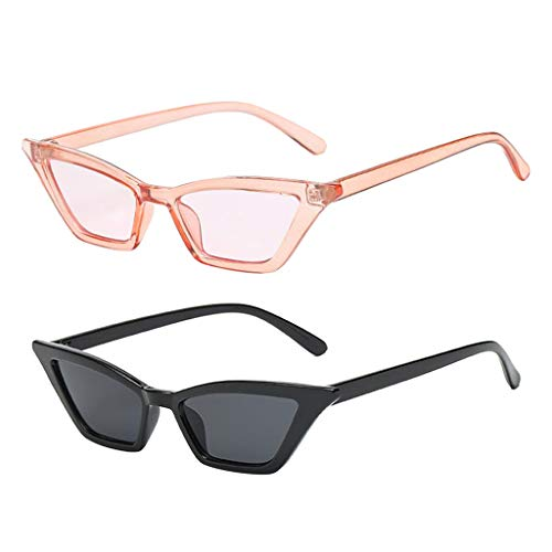 yotijar 2 gafas de sol vintage para mujer, ojo de gato pequeño, gafas de sol de lujo UV400 para exteriores