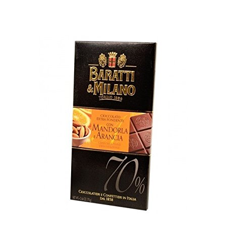 Baratti & Milano - TABLETTE CHOCOLAT NOIR 70% ORANGE & AMANDES 75GR