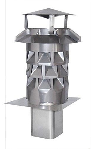 Nischenmarkt Schornsteinaufsatz/Kaminaufsatz/Regenhaube Windkat Edelstahl DN 200 - Einschub abgerundete Ecken 196 mm z.B. für Plewa/Tona + Silikon