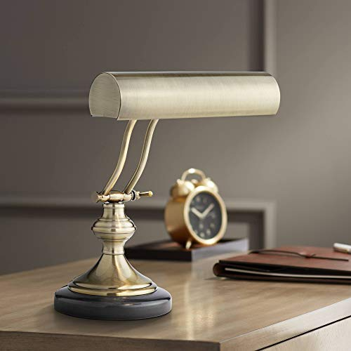 Traditional Piano Banker Desk Lamp Adjustable Black Marble Base Antique Brass Shade for Office Table - Regency Hill