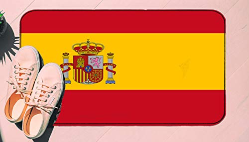 DIIRCYB Door Mat Indoor Outdoor Non-Slip Washable Doormat,Red Spanish Flag Of Spain Arms Accurate Dimensions Proportions And Colors Yellow Official,Diy Cropping Rug,For Home Kitchen Bedroom Bathroom F