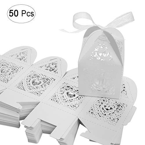 SenPuSi 50 Stück Gastgeschenk Hochzeit Süßigkeiten Schachtel Geschenkbox Kasten Hochzeit Party Dekoration (Weiß)