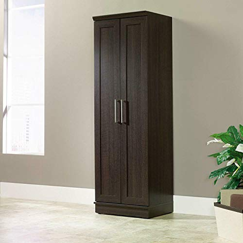 Moon Daughter Tall Dark Brown Wooden Pantry Storage Cabinet Laundry Home Office Organizer Cupboard
