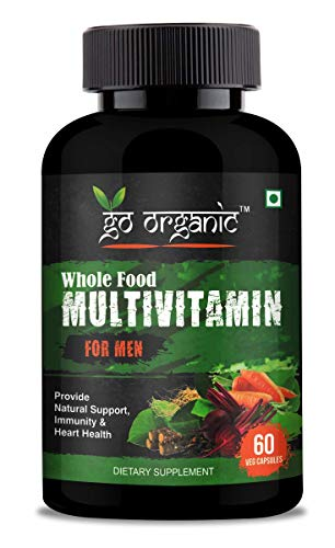 Go Organic Organic Whole Food Multivitamin for Men - with Natural Vitamins, Mineral, Organic Extracts - Best for Energy, Brain, Heart, Eye Health 60 Vegan Capsules (For Man), green (G-WFV-M-0060-B)
