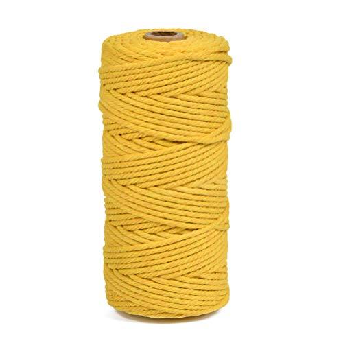 POKIENE Makramee Garn 3mm x 100m,naturliches Baumwolle Garn Baumwollkordel für Wandbehang Hängepflanze DIY Dekoration Weben - Mustard