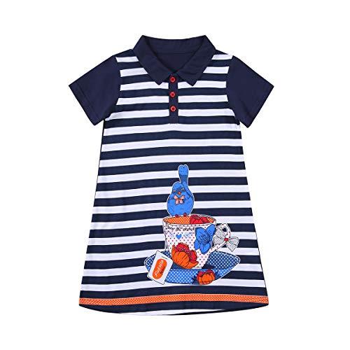 Vestido para Niña con Rayas Azul y Blanco con Botones Estampado Pájaro Vestido Niña Casual con Mangas Cortas para Niña de 2-7 Años (Marinera, 3 Años)