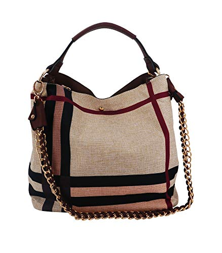 Lightweight Everyday Fashion Hobo Bag and Crossbody Messenger Organizer included (Taupe)
