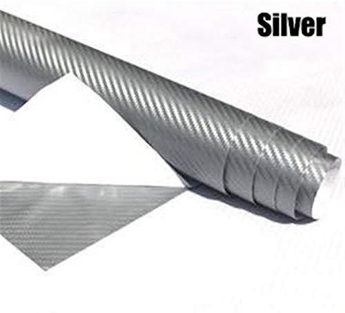 NYSCJJJ Wasserdicht 127 cm x30 cm 3D kohlefaser Vinyl wrap Film autofahrzeug Aufkleber Blatt Rolle Silber Gold schwarz (Color : Silver)