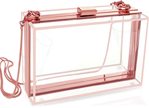 Stevens Parra Clear Clutch For Girls Or Women With Gift Box - Cute Ladies Rose Gold Crossbody Handbag With Removable Chain - Use This Transparent Acrylic Purse As A Evening Bag, Or Game Day, Stadium Approved., Small