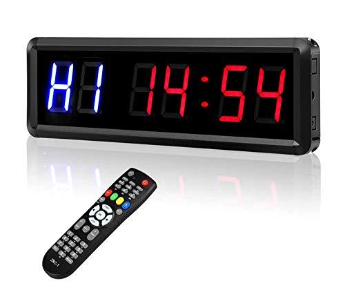 BOBLOV Intervall-Timer, Countdown/Up-Uhr, LED-Timer, Stoppuhr mit Fernbedienung, für Zuhause, Fitnessstudio, Fitness-Workouts