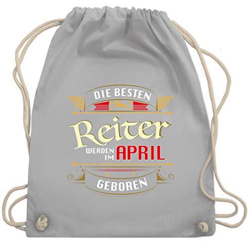 Shirtracer Reitsport - Die besten Reiter werden im April geboren - Unisize - Hellgrau - turnbeutel reiten - WM110 - Turnbeutel und Stoffbeutel aus Baumwolle