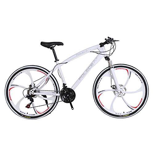Jungen, Mädchen, Premium-Mountainbikes aus Unisex-Aluminiumlegierung, Fahrräder, 26-Zoll-Mountainbike-Fahrräder mit Gabelaufhängung (weißer Rahmen), Einrad-Doppelscheibenbremsen und Scheibenbremsen.