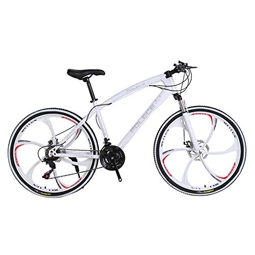 Boys, girls, unisex aluminum alloy premium mountain bikes, bicycles, 26-inch mountain bike bicycles with fork suspension (white frame), one-wheel dual disc brakes and disc brakes.