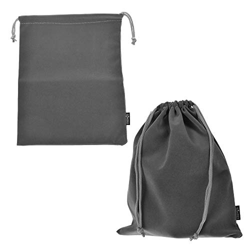 Cosmos Set of 2 Premium Gray Travel Carry Drawstring Headphones Pouch Bag (Gray Color)