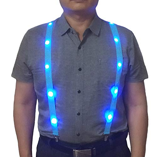 LED hanging neon men and women sling, Y-shaped adjustable sling novelty clothing accessories(blue)