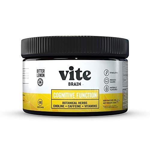 Vite Brain Nootropic Drink - Natural, Low Calorie Nootropics Supplement & Energy Drink Powder for Cognitive Function - Energy, Focus & Productivity. (Bitter Lemon))