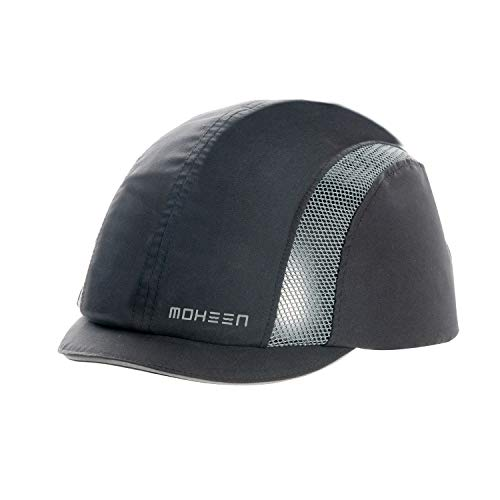 Anstoßkappe mit reflektierenden Streifen, leichtem und atmungsaktivem Schutzhelm (Schwarzer Micro-Krempe)
