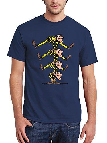 clothinx Herren T-Shirt Lucky Luke – Die Daltons Pyramide Navy Größe XL