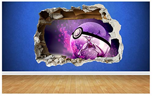 Thorpe Signs Wandaufkleber Pokemon Go, MewTwo, 3D-Stil, zerstörte Wand, Kinderzimmer, Schlafzimmer, Vinyl, Vinyl, Large: 80cm x 58cm