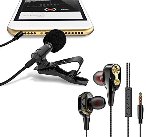 Mini Digital Noise Cancellation Clip Collar Mic Condenser for Voice Recording, Mobile, Laptop, with 4D Dual Driver, in-Ear Gaming Wired Headphones with in-line Mic, Volume Control by Suckey