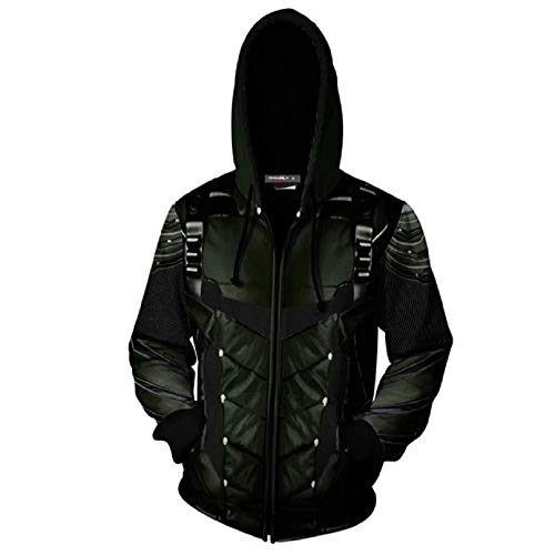 Superhero 3D Zipper Hoodies Sweatshirt Oliver Queen Jacket Cosplay Costumes Coat S Green