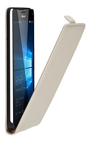 yayago Flip Hülle für Microsoft Lumia 950 XL Tasche Creme-Weiß