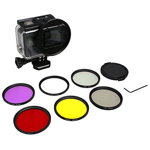 Zhuhaixmy 6pcs 58mm Filtersets für GoPro Hero 6/Hero 5 Black Action Kamera, 6 in 1 Inklusive UV + CPL + ND2 + Rotfilter + Gelbfilter + Lila Filter Kamera Zubehör