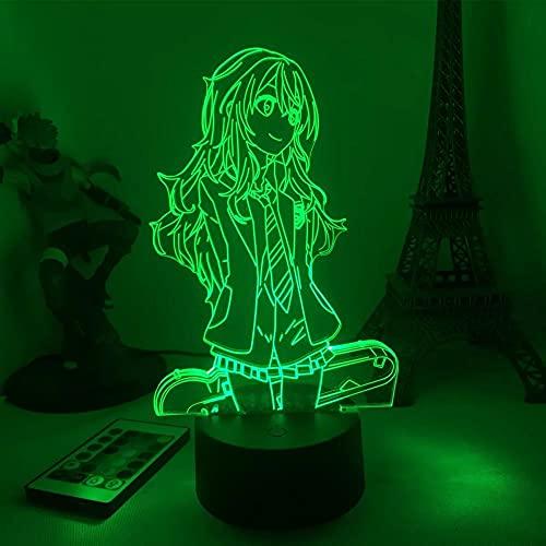 Lámpara de ilusión 3D Anime Kaori Miyazono 3D LED Light for Bedroom Decor Kids Brithday Gift Manga Room Table 3d Lamp 7 Colores Touch MDJK
