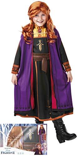 Rubies- Disfraz de Anna de Frozen 2 con Peluca para niñas 5-6 años, Color, (Rubie