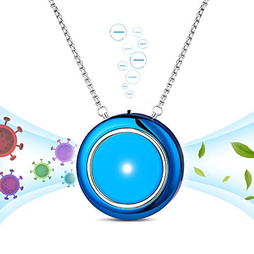 WOOLALA Personal Wearable Air Purifier Necklace/Mini Portable Air Freshner Ionizer/Ions Generator/Low Noise for Adults Kids Blue