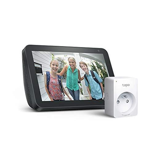 Echo Show 8, Tissu anthracite + Tapo P100 Prise connectée WiFi, Fonctionne avec Alexa