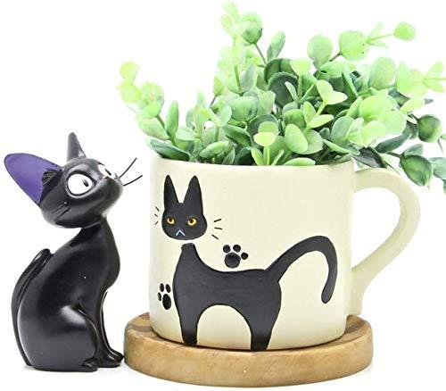 ZSNB Service de Livraison de Kiki Cats Flower Pot, Mini Black Cats Pot de Fleurs avec Studio Ghibli Esprit for Les Enfants Cadeau Miyazaki Décoration (Tasse de Pot de Fleur de Kiki + + bac Base)