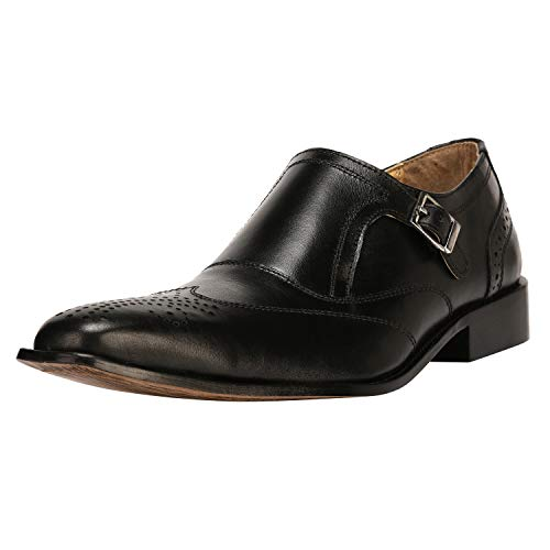 Andrew Fezze Double Buckle Wing Tip Dress Shoe 10 BLACK